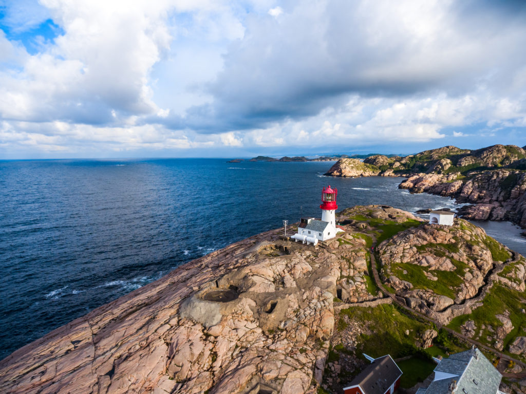 Lindesnes Fyr Lighthouse, Beautiful Nature Norway natural landscape aerial photography.